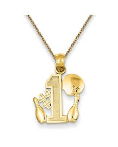 #1 Bowler Pendant Necklace in 14K Yellow Gold