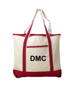 Personalized Initial Canvas Tote - Red